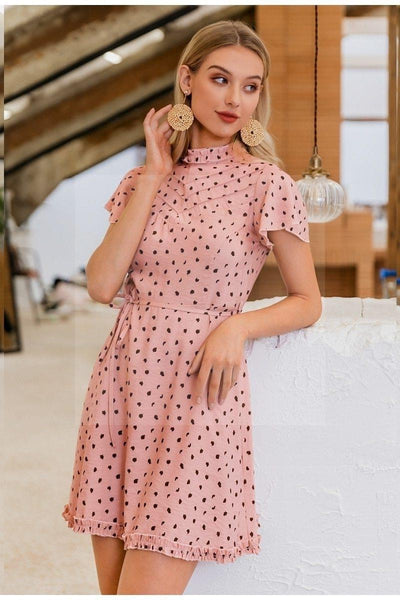 robe hippie chic rose poudre