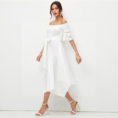 robe hippie style chic blanche longue
