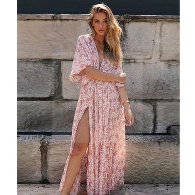 robe longue hippie chic rose pale