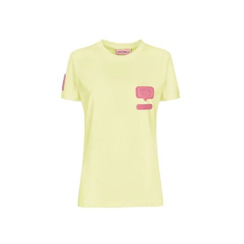 T-SHIRT CHIARA FERRAGNI SILICON PATCH GIALLA | Fronte | Salotto Shop