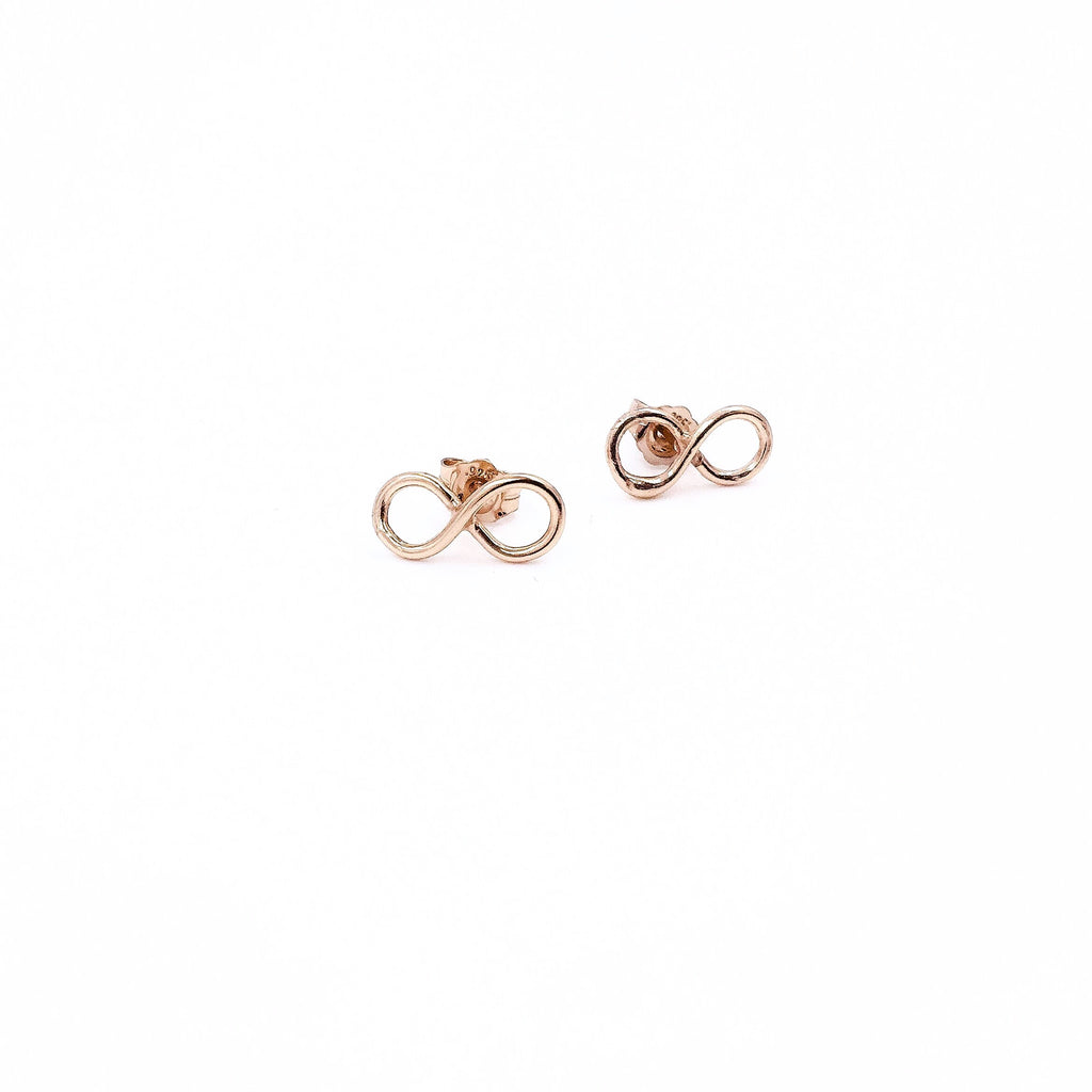 ROSE GOLD INFINITY STUDS
