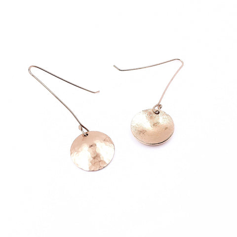 ROSE GOLD HAMMERED DISC DROP EARRINGS