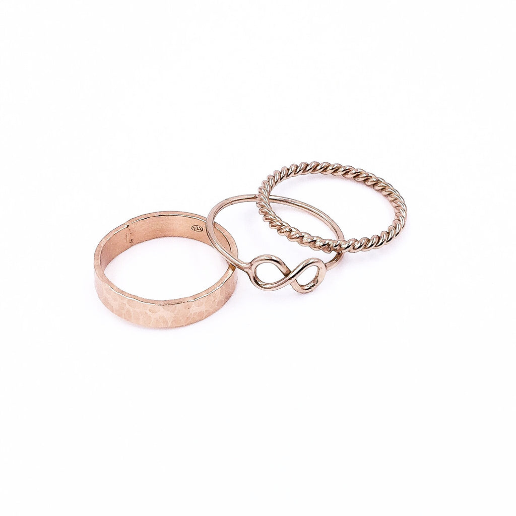 ROSE GOLD STACK RING INFINITY SET