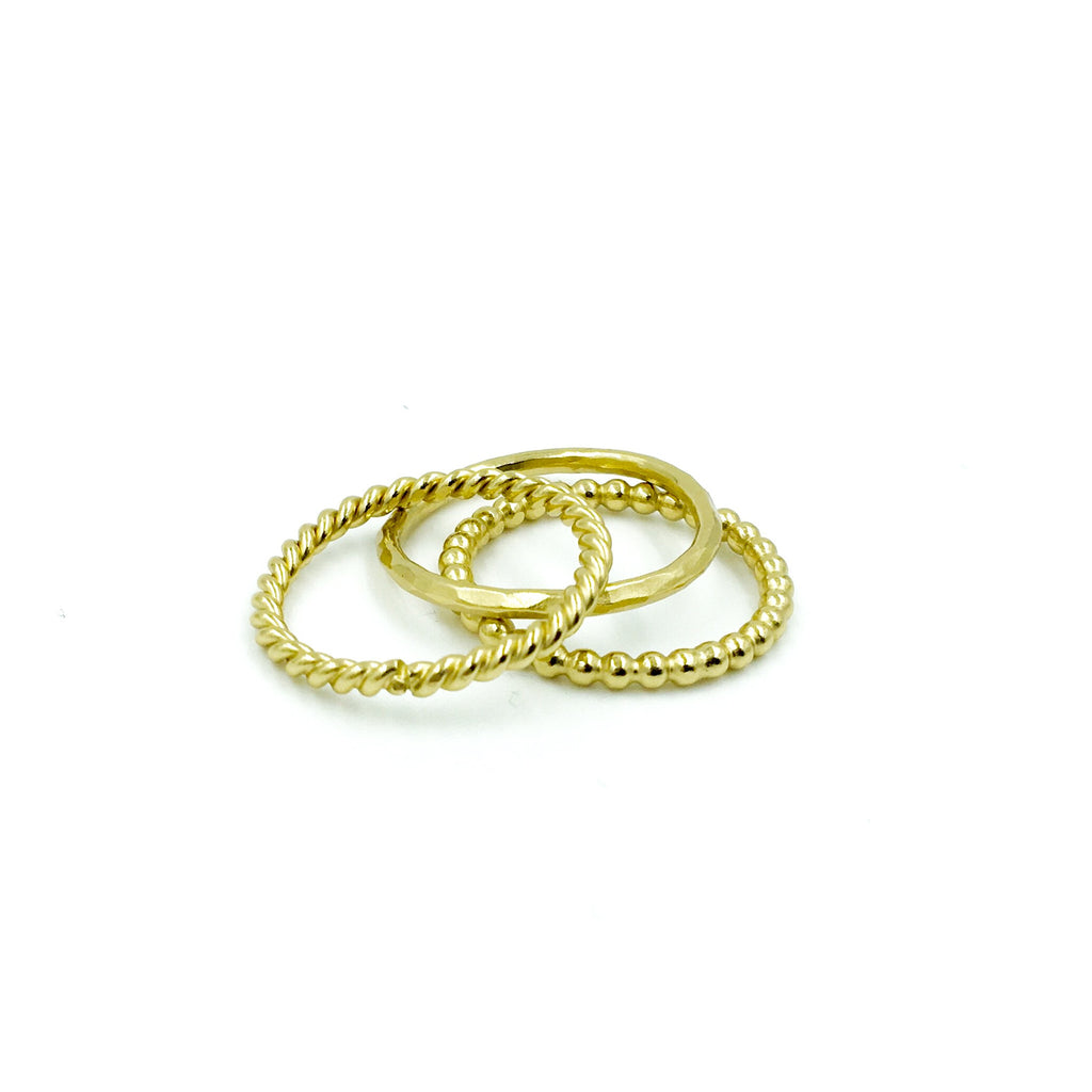 YELLOW GOLD STACK RING SIMPLE SET