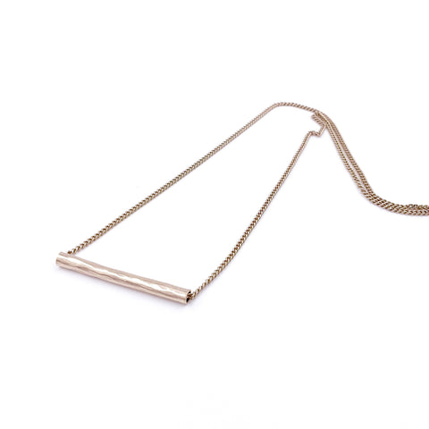 ROSE GOLD HAMMERED PIPE NECKLACE