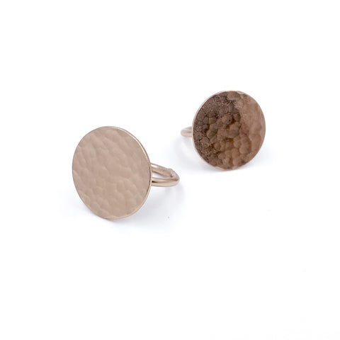 ROSE GOLD HAMMERED DISC RING