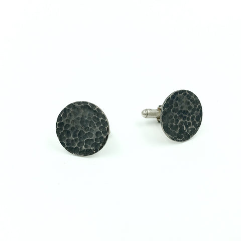 MENS HAMMERED BLACKENED CUFFLINKS