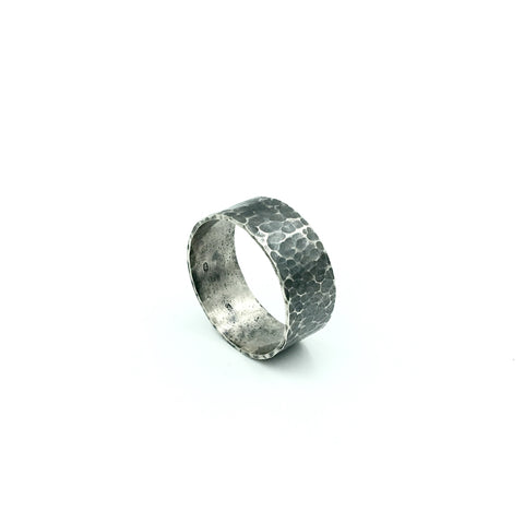 MENS HAMMERED BLACKENED RING