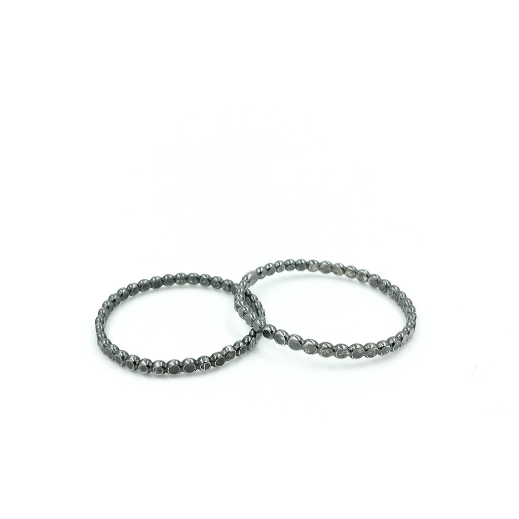 MENS PEARL WIRE FLATTENED RING