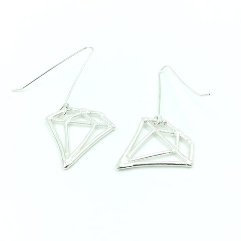 FACETED WIRE FRAME EARRINGS