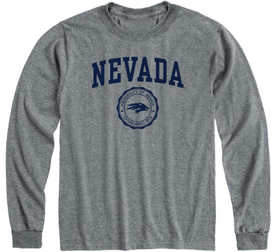 University of Nevada Reno Heritage Long Sleeve T-Shirt (Charcoal Grey)