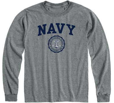 Navy Heritage Long Sleeve T-Shirt (Charcoal Grey)