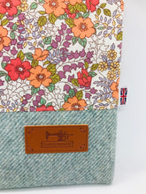 Load image into Gallery viewer, Floral Orange & Mist Blue Book, IPad, Tablet, Kindle Cover British Tweed & Floral Cotton