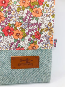Floral Orange & Mist Blue Book, IPad, Tablet, Kindle Cover British Tweed & Floral Cotton