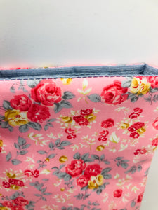 Floral Rose Pink & Raspberry Book, IPad, Kindle, Tablet Cover British Tweed & Floral Cottons