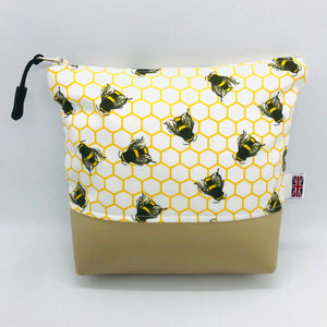 Honeybees, Bumblebee, Bee Makeup Bag, Cosmetics & Brush Case, Toiletries Pouch, Vegan Handcrafted, British, Gift