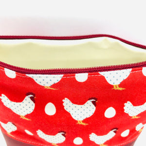 Chicken & Egg Makeup Bag, Cosmetics Case, British Handcrafted Gift