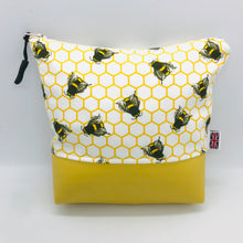Load image into Gallery viewer, Honeybees, Bumblebee, Bee Makeup Bag, Cosmetics & Brush Case, Toiletries Pouch, Vegan Handcrafted, British, Gift