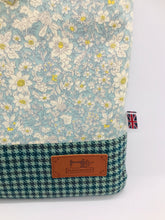 Load image into Gallery viewer, Floral Pale Lavender & Teal Book, IPad, Tablet, Kindle Cover British Tweed & Floral Cotton