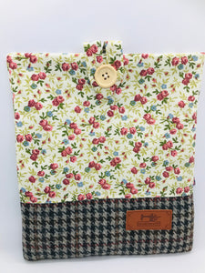 Floral Summer & Wood Brown Book, IPad, Tablet, Kindle Cover British Tweed & Floral Cotton