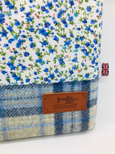 Load image into Gallery viewer, Floral Mist & Sea Blue Book, IPad, Tablet, Kindle Cover British Tweed & Floral Cotton