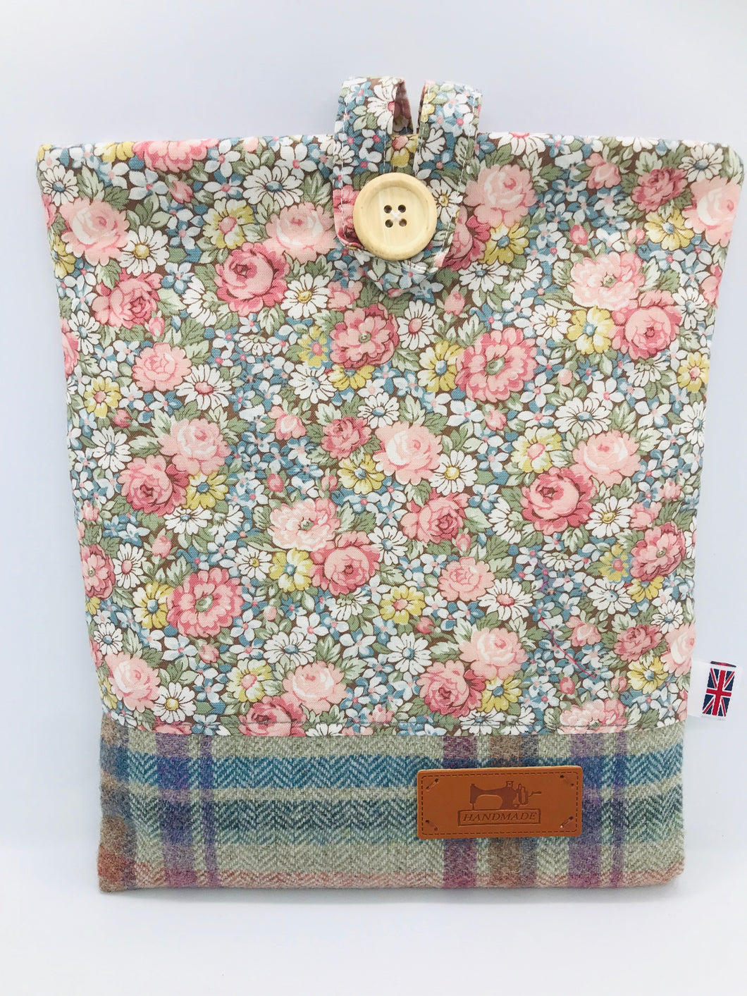Floral Spring Pink & Sea Blue Book, IPad, Tablet, Kindle Cover British Tweed & Floral Cotton