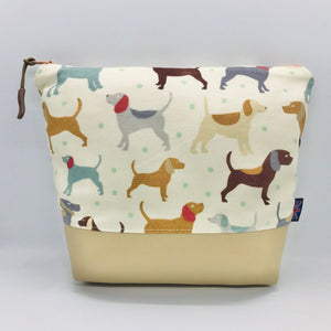 Dogs & Puppies Makeup Bag, Cosmetics Case, British Handcrafted Gift