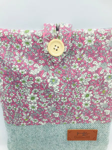 Floral Pale Lilac & Mist Blue Book, IPad, Tablet, Kindle Cover British Tweed & Floral Cotton