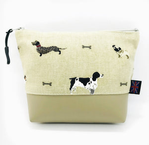 Dog & Bone Makeup Bag, Cosmetics Case, British Handcrafted Gift