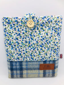 Floral Mist & Sea Blue Book, IPad, Tablet, Kindle Cover British Tweed & Floral Cotton