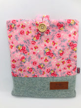 Load image into Gallery viewer, Floral Rose Pink & Mist Blue Book, IPad, Tablet, Kindle Cover British Tweed & Floral Cotton