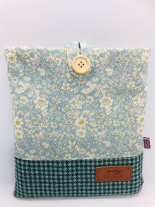 Floral Pale Lavender & Teal Book, IPad, Tablet, Kindle Cover British Tweed & Floral Cotton