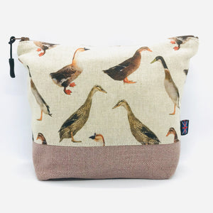 Duck Makeup Bag, Cosmetics Case, British Handcrafted Gift