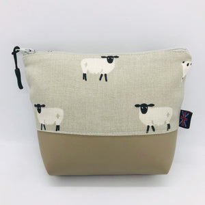Sheep Ram Lamb Makeup Bag, Cosmetics Case, British Handcrafted Gift