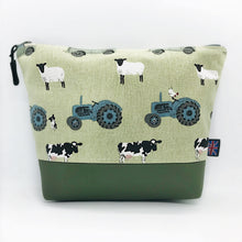 Load image into Gallery viewer, Farm Tractor Sheep Jeep Makeup Bag, Cosmetics Case, British Handcrafted Gift