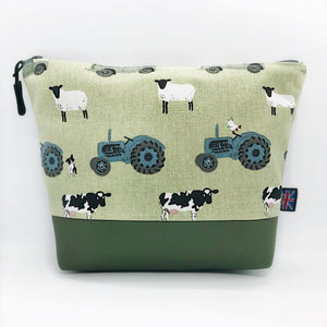 Farm Tractor Sheep Jeep Makeup Bag, Cosmetics Case, British Handcrafted Gift