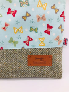 Butterflies & Tree Bark Book, IPad, Tablet, Kindle Cover British Tweed & Floral Cotton