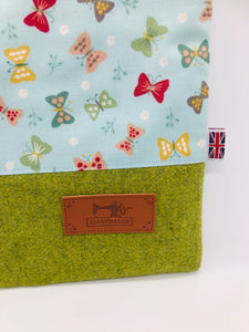 Butterflies & Leaf Green Book, IPad, Tablet, Kindle Cover British Tweed & Floral Cotton