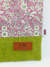 Load image into Gallery viewer, Floral Pale Lilac & Leaf Green Book, IPad, Tablet, Kindle Cover British Tweed & Floral Cotton