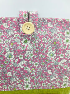 Floral Pale Lilac & Leaf Green Book, IPad, Tablet, Kindle Cover British Tweed & Floral Cotton