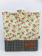 Load image into Gallery viewer, Floral Summer & Wood Brown Book, IPad, Tablet, Kindle Cover British Tweed & Floral Cotton