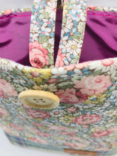 Load image into Gallery viewer, Floral Spring Pink & Sea Blue Book, IPad, Tablet, Kindle Cover British Tweed & Floral Cotton