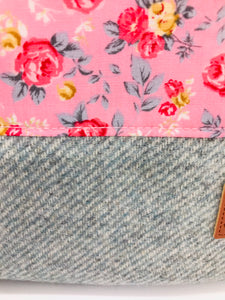 Floral Rose Pink & Mist Blue Book, IPad, Tablet, Kindle Cover British Tweed & Floral Cotton