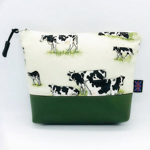 Cow Makeup Bag, Cosmetics Case, British Handcrafted Gift