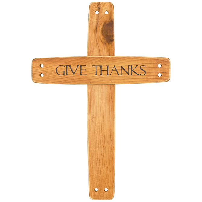 "21"" Wooden Wall Cross Give Thanks"