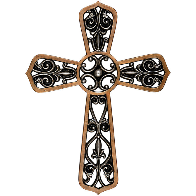 "14"" Silver/Copper Wall Cross"