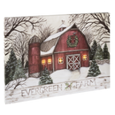 "Lighted LED ""Evergreen Farm"" Barn Wall Decor Canvas"