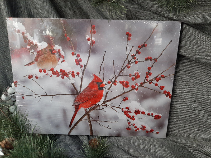 Winter Cardinal Couple Lighted Canvas