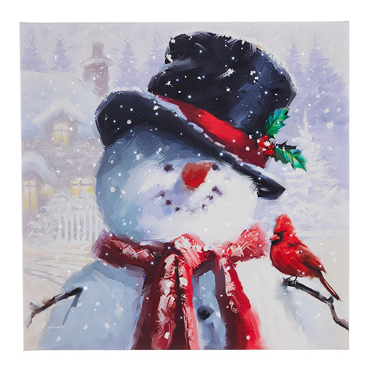 "20"" Snowman With Cardinal Lighted Print"
