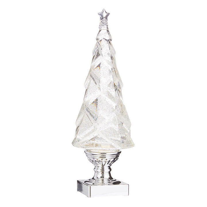 "14"" Geometric Lighted Tree with Silver Swirling Glitter"